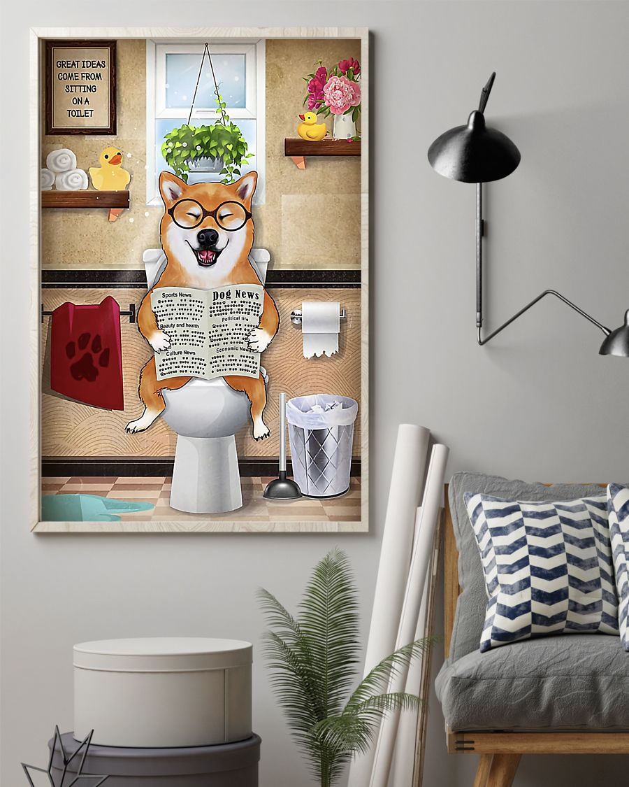 shiba inu sitting on toilet great ideas poster 2