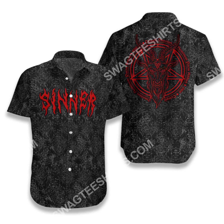 sinner with pentagram goat head goth all over printed hawaiian shirt 2(1)