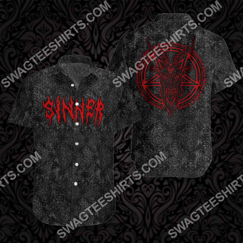 sinner with pentagram goat head goth all over printed hawaiian shirt 3(1)