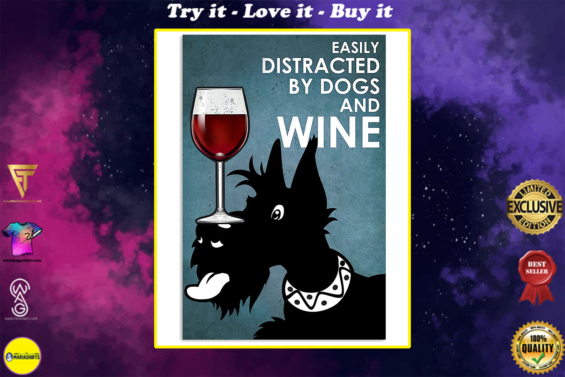small black terrier easily distracted by dogs and wine poster