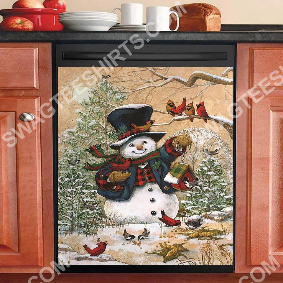 snowman and cardinals christmas kitchen decorative dishwasher magnet cover 2
