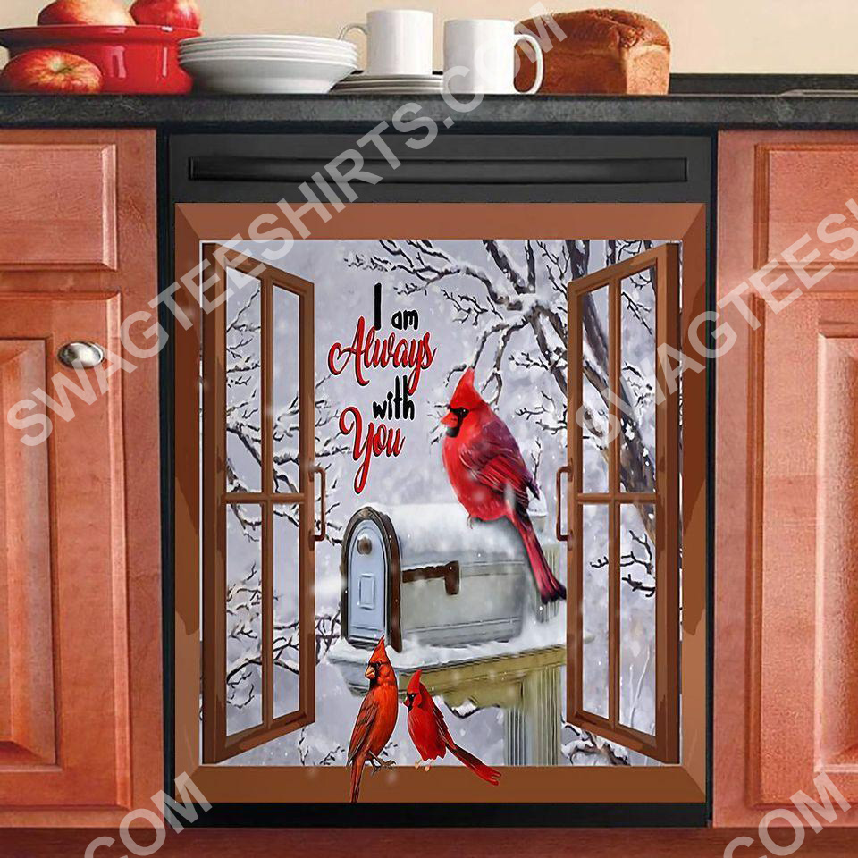 the cardinal i am always with you kitchen decorative dishwasher magnet cover 2