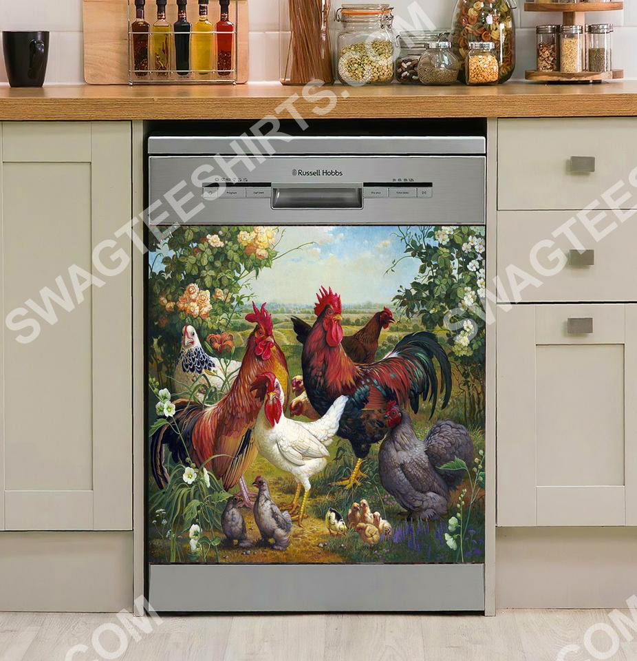 the chicken farm life vintage kitchen decorative dishwasher magnet cover 2 - Copy (3)