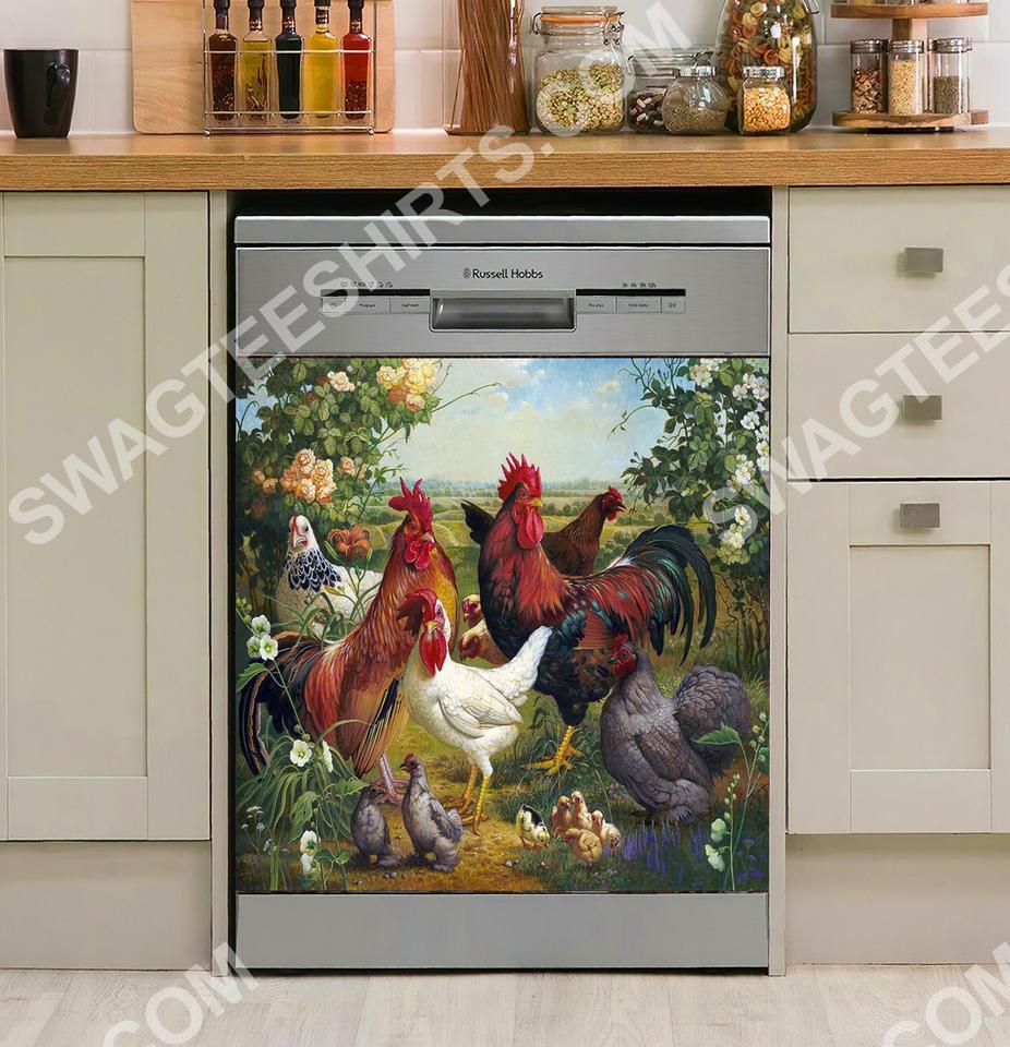 the chicken farm life vintage kitchen decorative dishwasher magnet cover 2