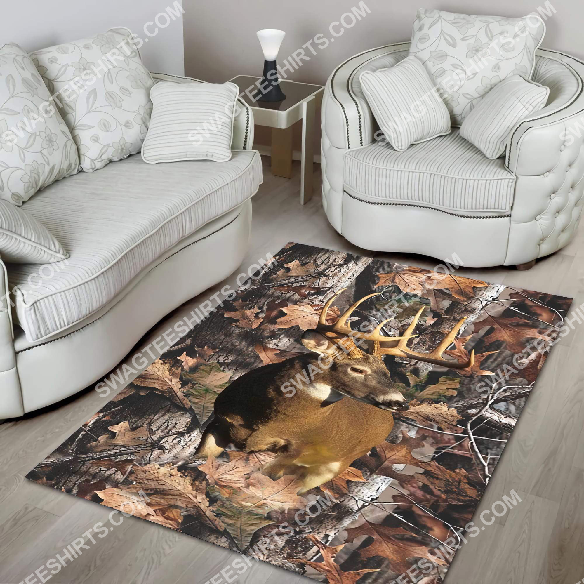the deer in forest all over printed rug 2(1)