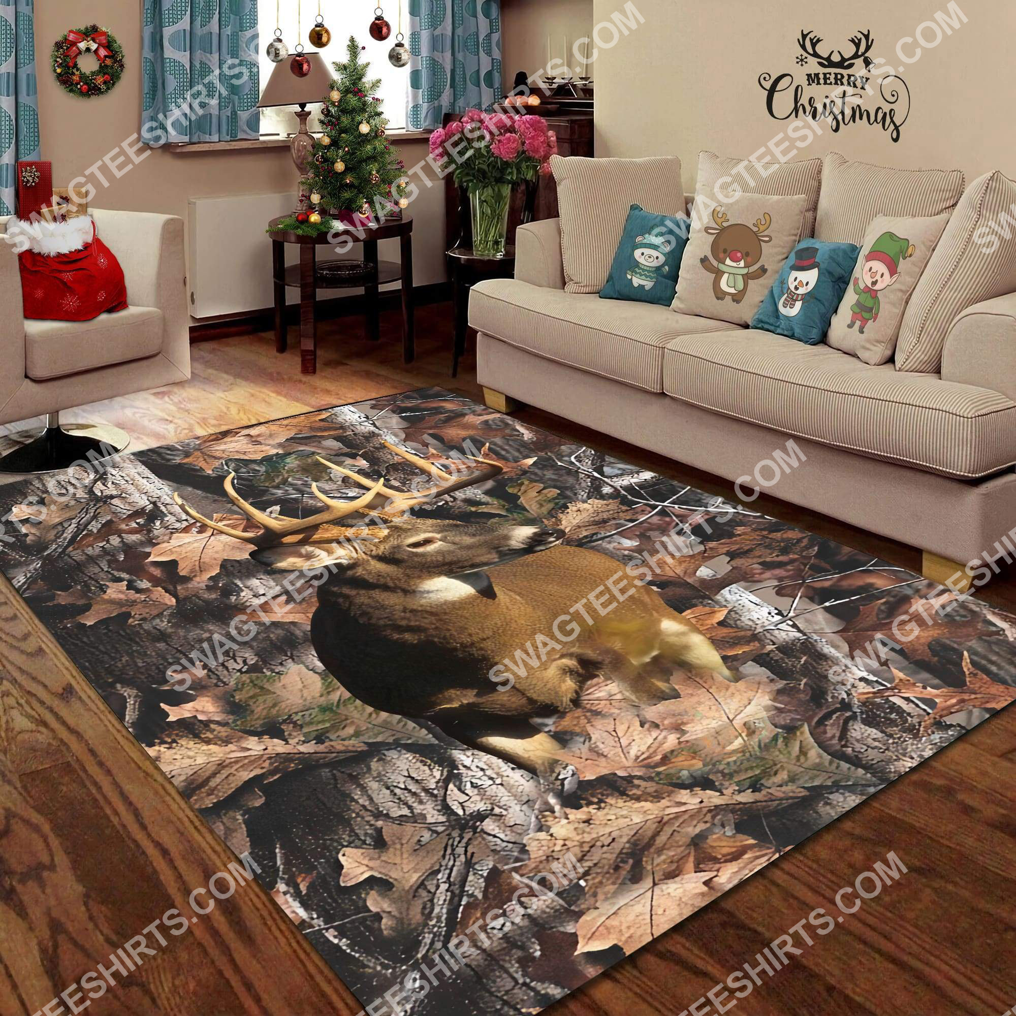 the deer in forest all over printed rug 3(1)