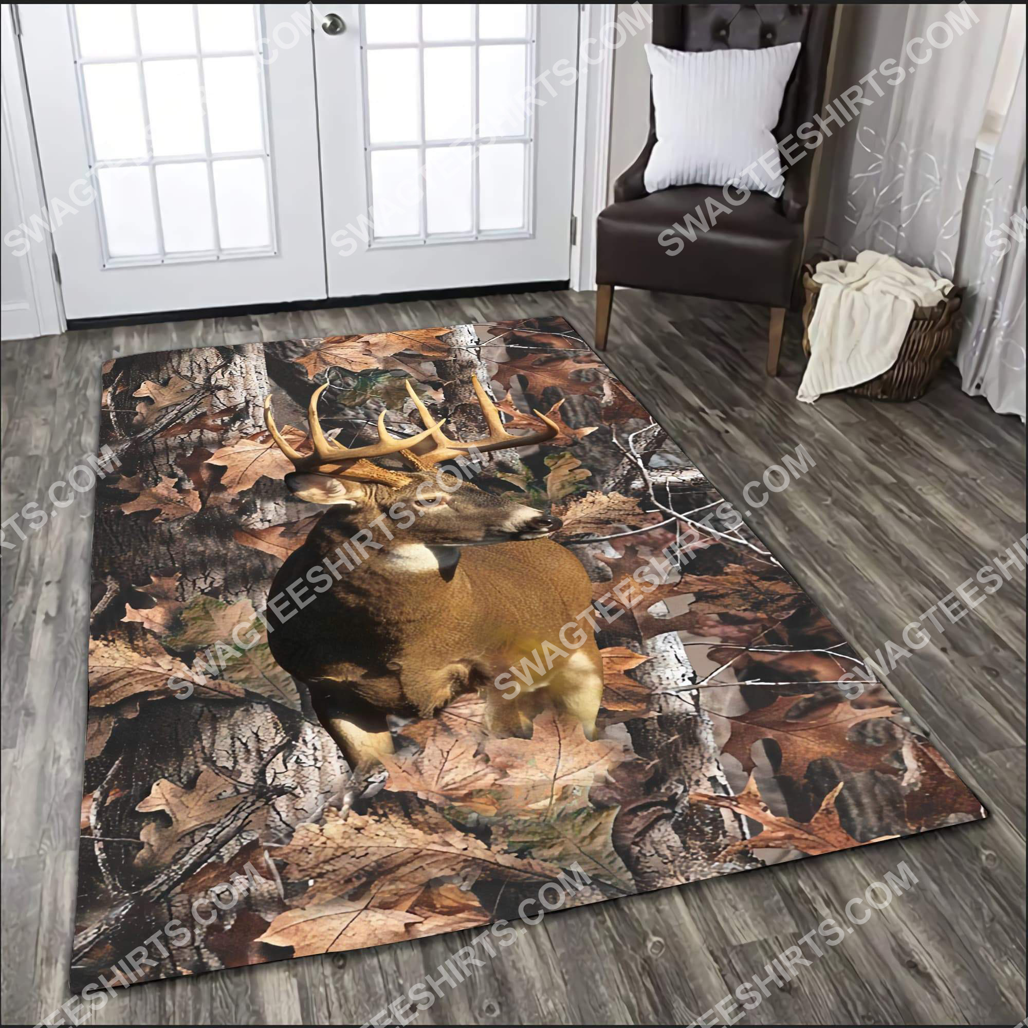 the deer in forest all over printed rug 4(1)