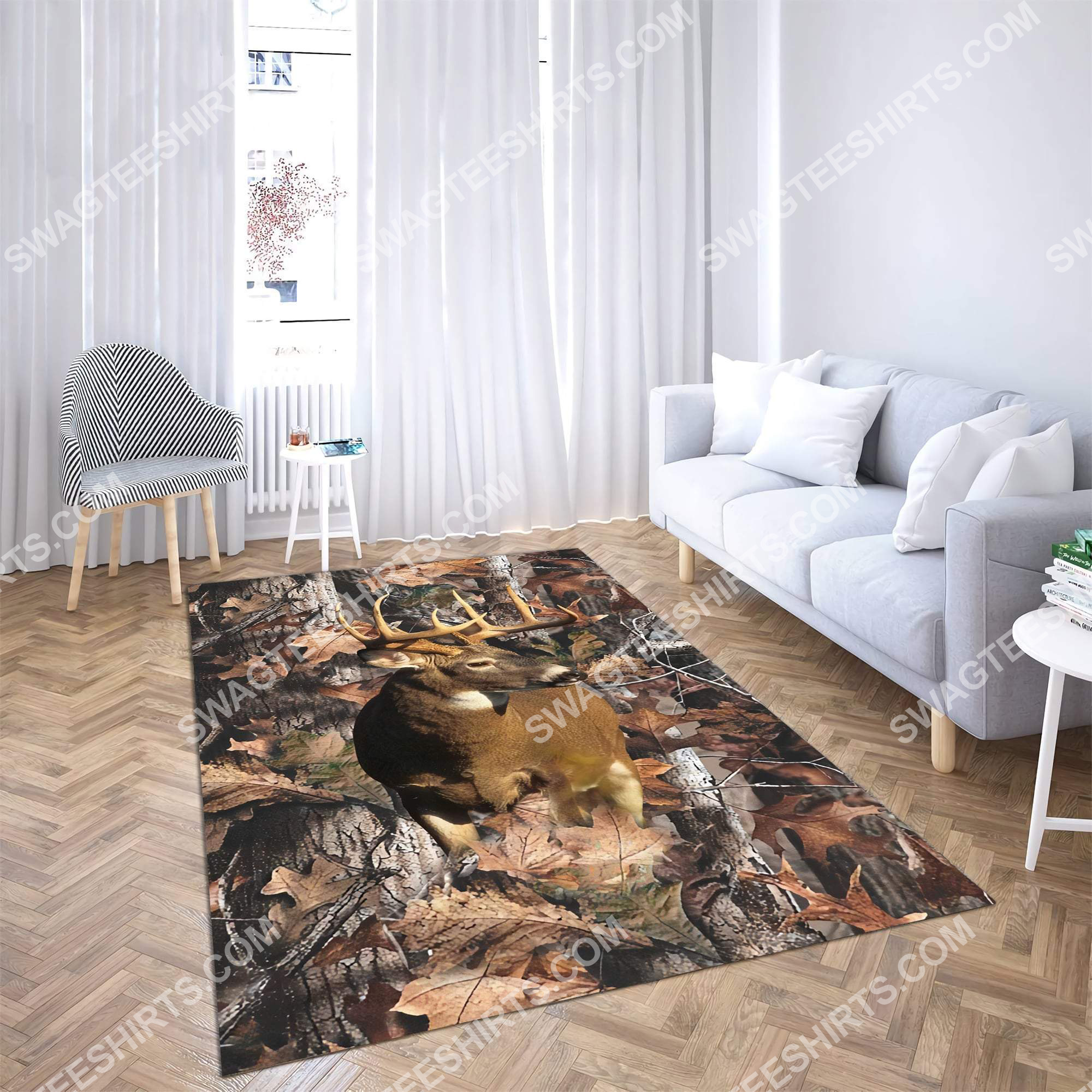 the deer in forest all over printed rug 5(1)