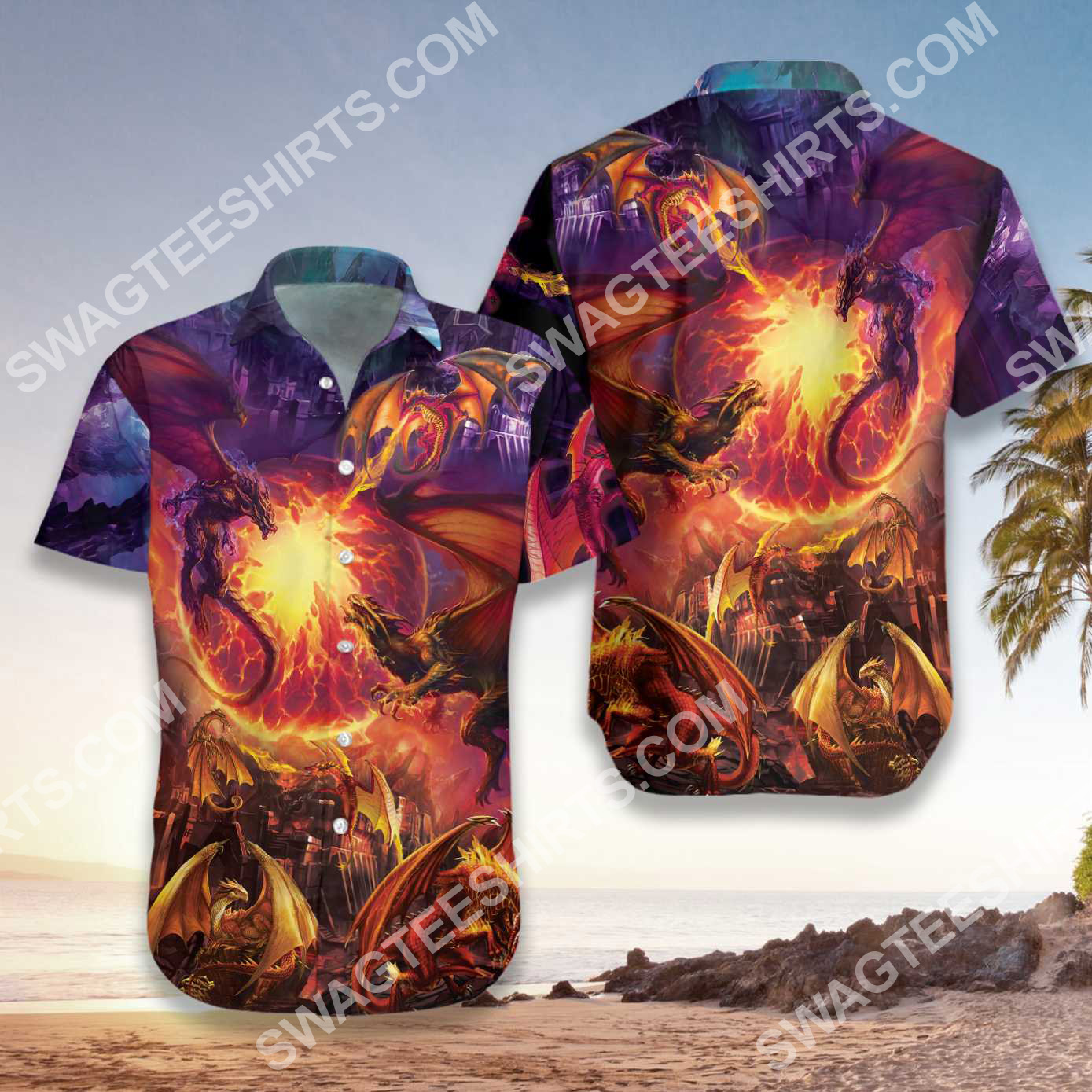 the dragon and fire all over printed hawaiian shirt 4(1)