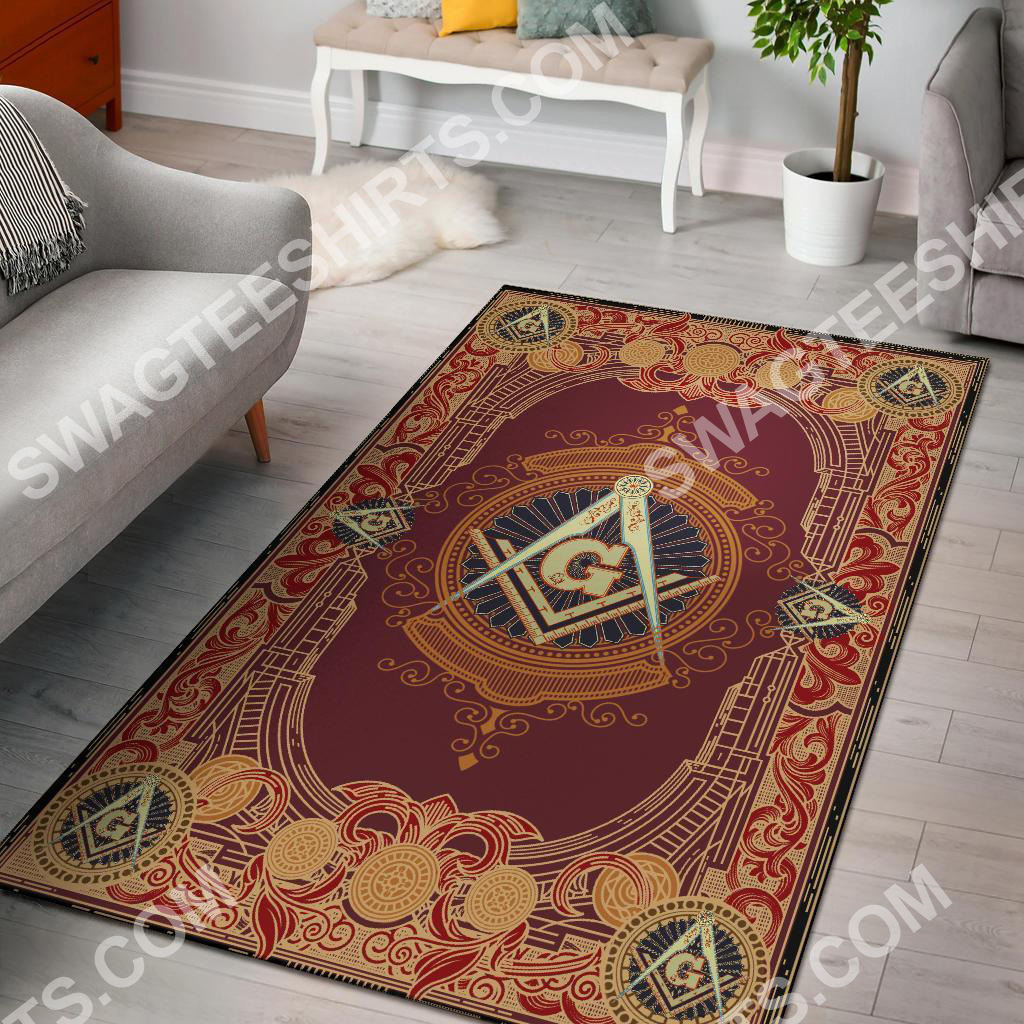 the freemason symbol red all over printed rug 2(1)