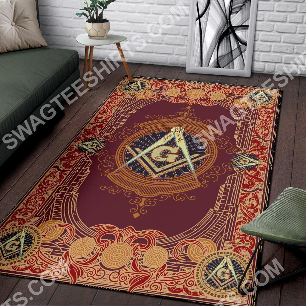 the freemason symbol red all over printed rug 3(1)