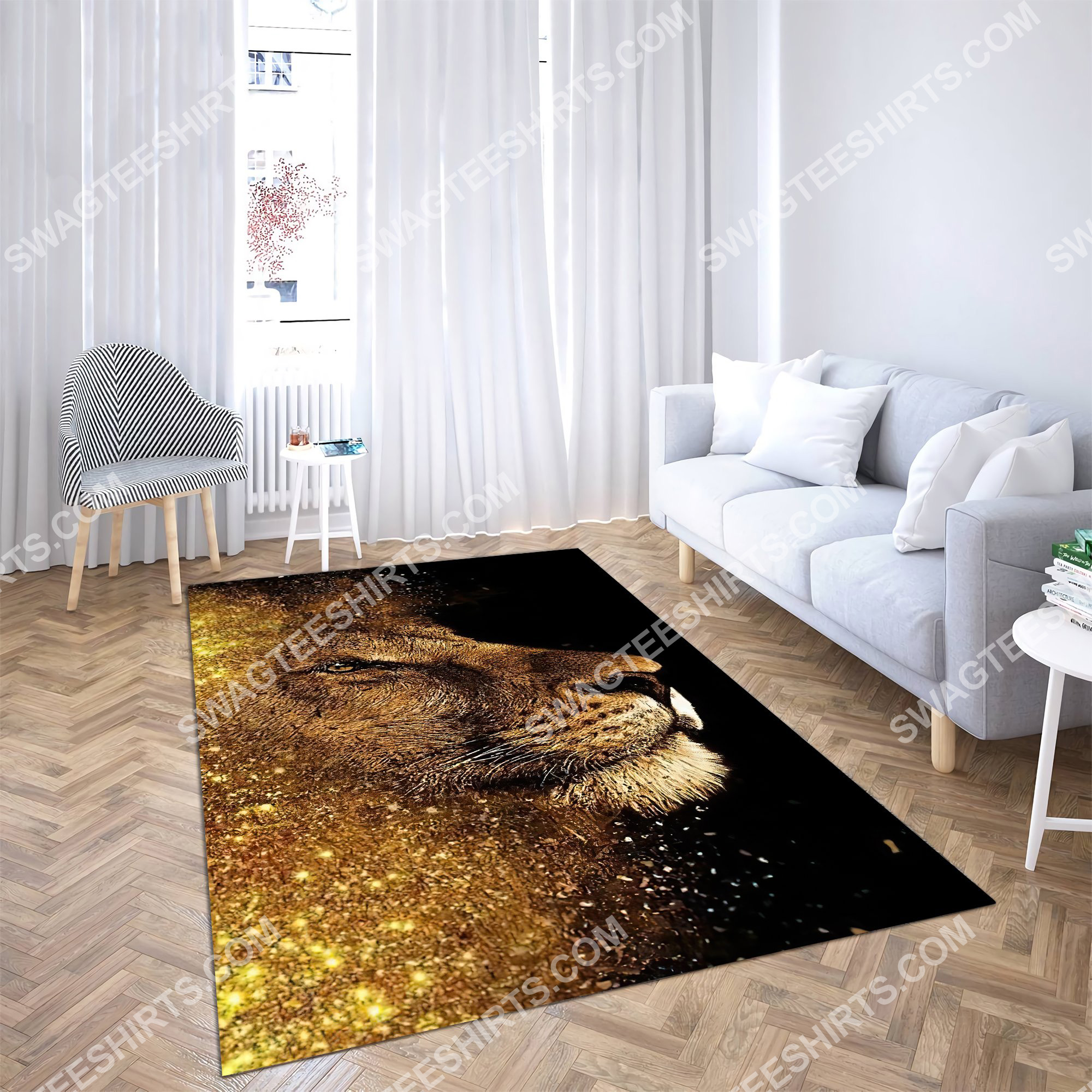 the golden lion all over printed rug 4(1)