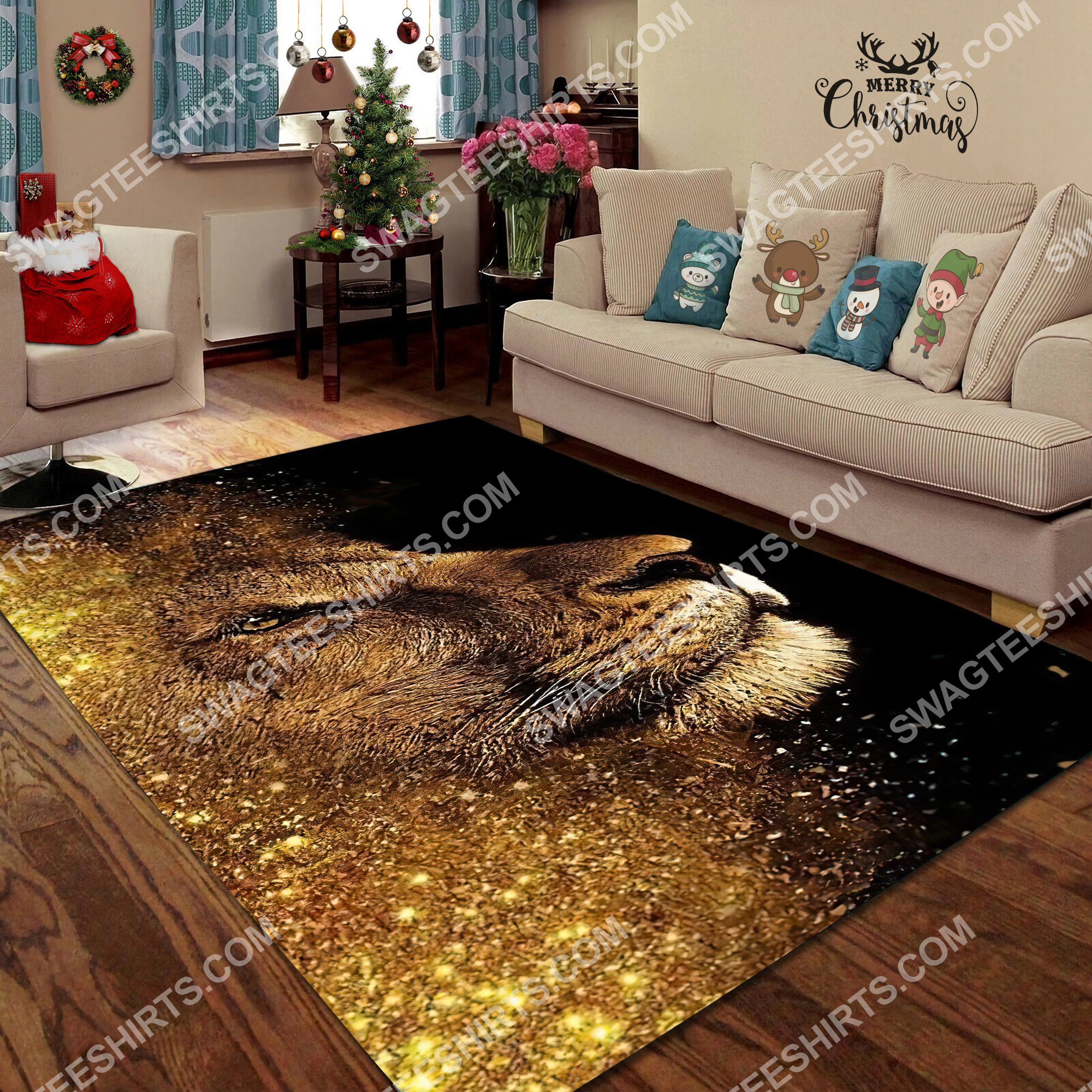 the golden lion all over printed rug 5(1)