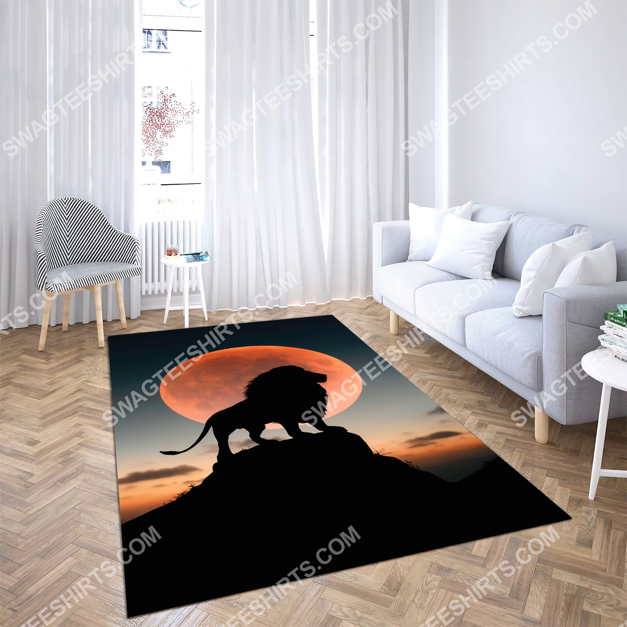the lion in sunset all over printed rug 2(1)