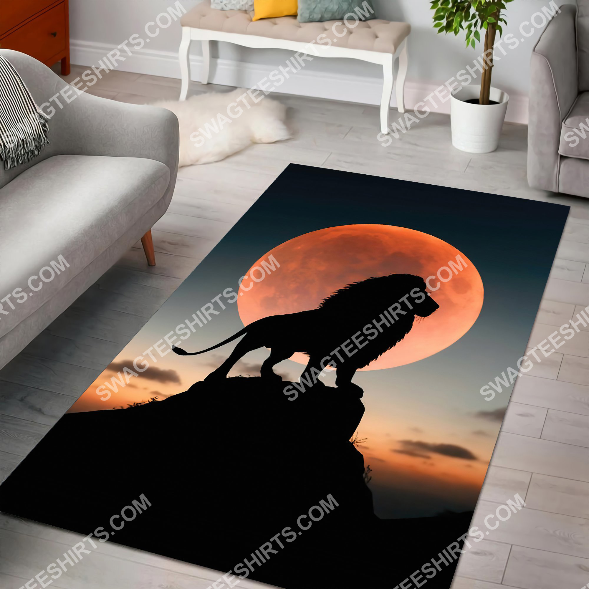 the lion in sunset all over printed rug 4(1)