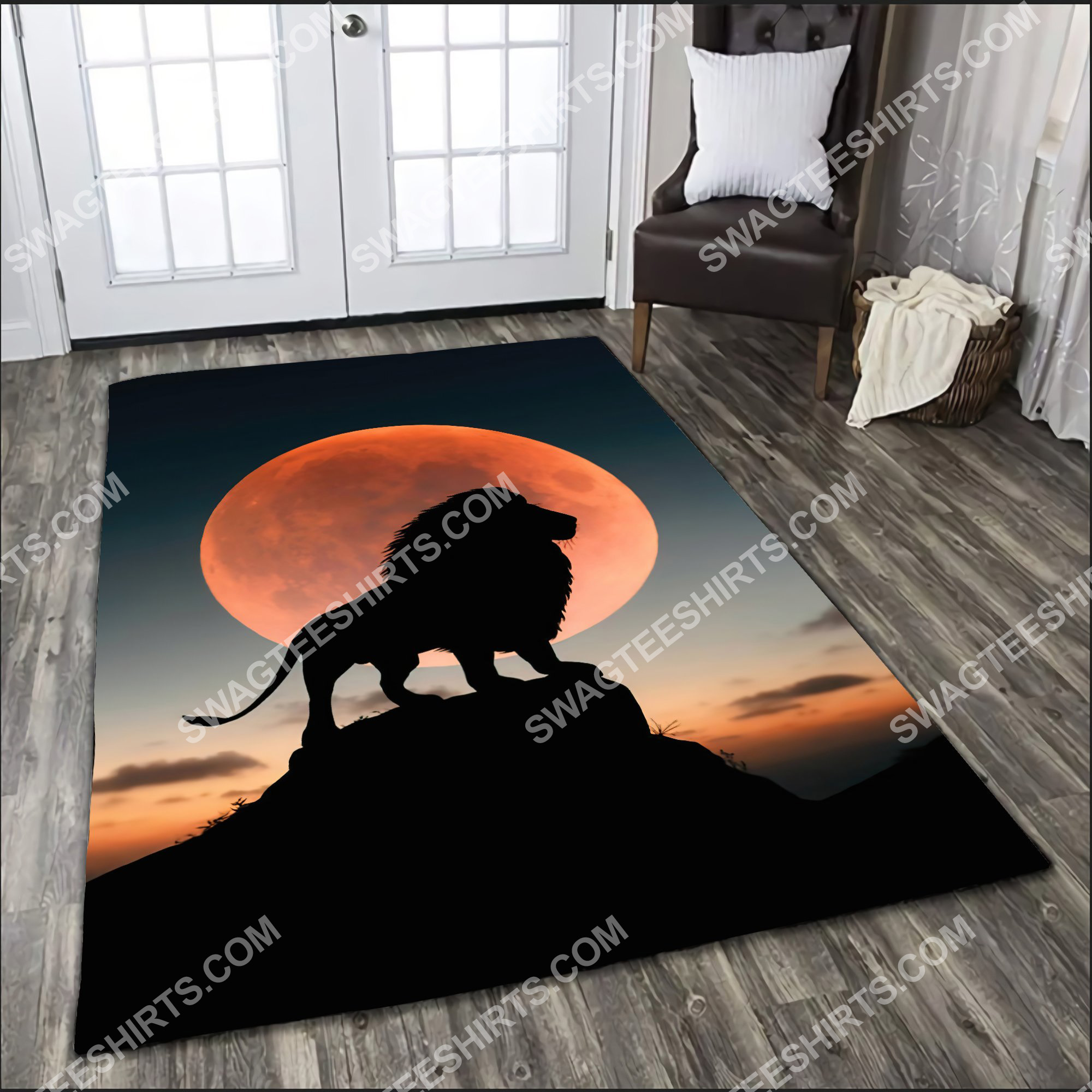 the lion in sunset all over printed rug 5(1)