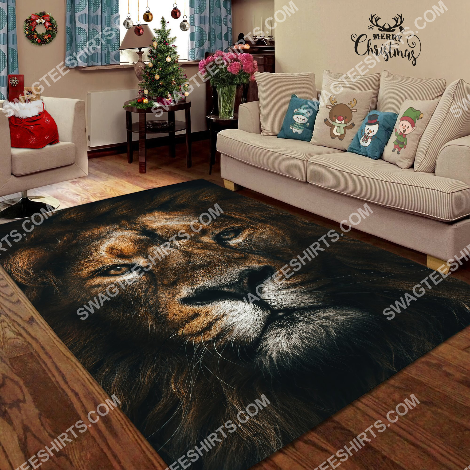 the lion retro all over printed rug 3(1)
