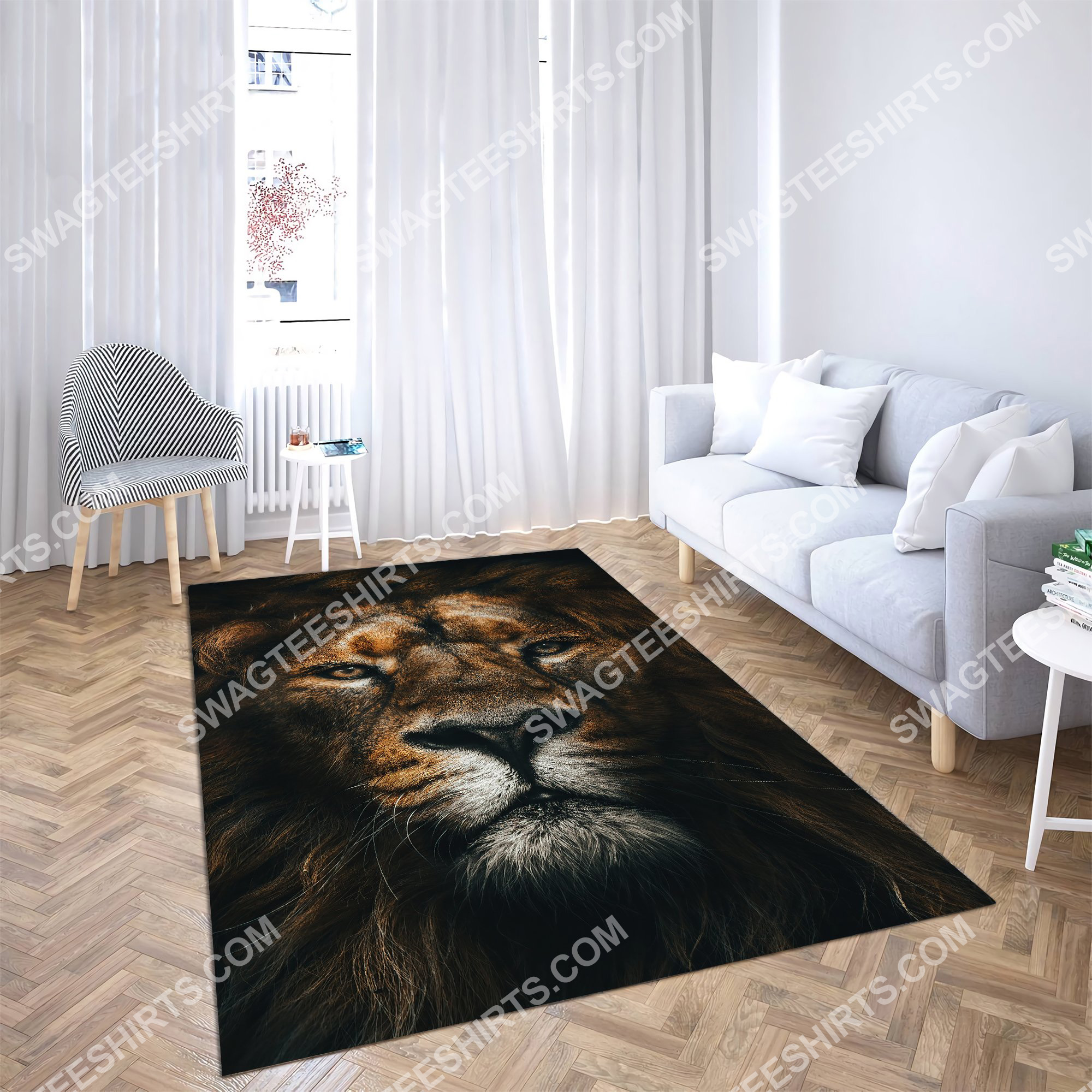 the lion retro all over printed rug 4(1)