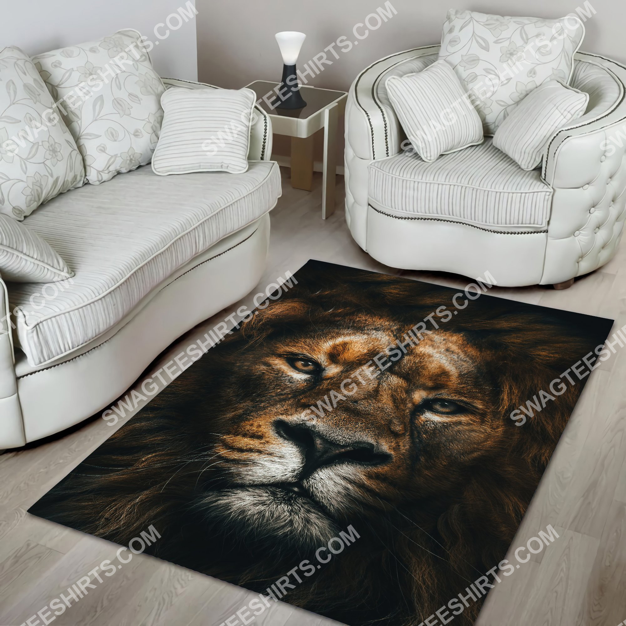 the lion retro all over printed rug 5(1)