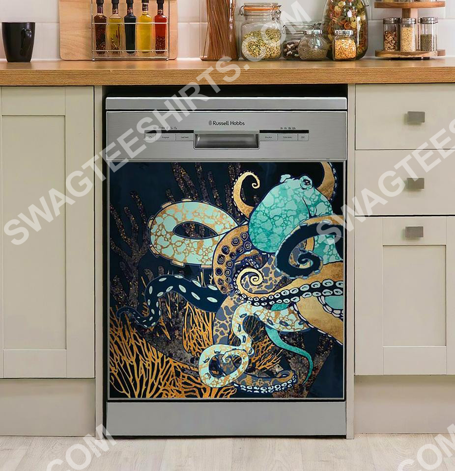 the octopus in the ocean kitchen decorative dishwasher magnet cover 2 - Copy