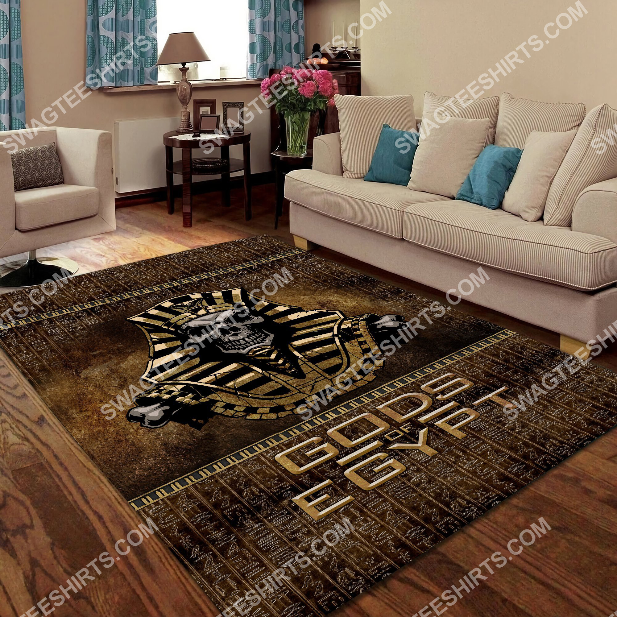 the skull Gods of egypt culture all over printed rug 4(1)