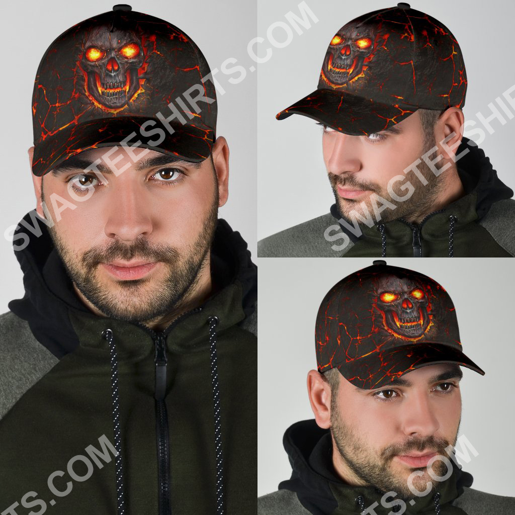 the skull fire all over printed classic cap 4(1)