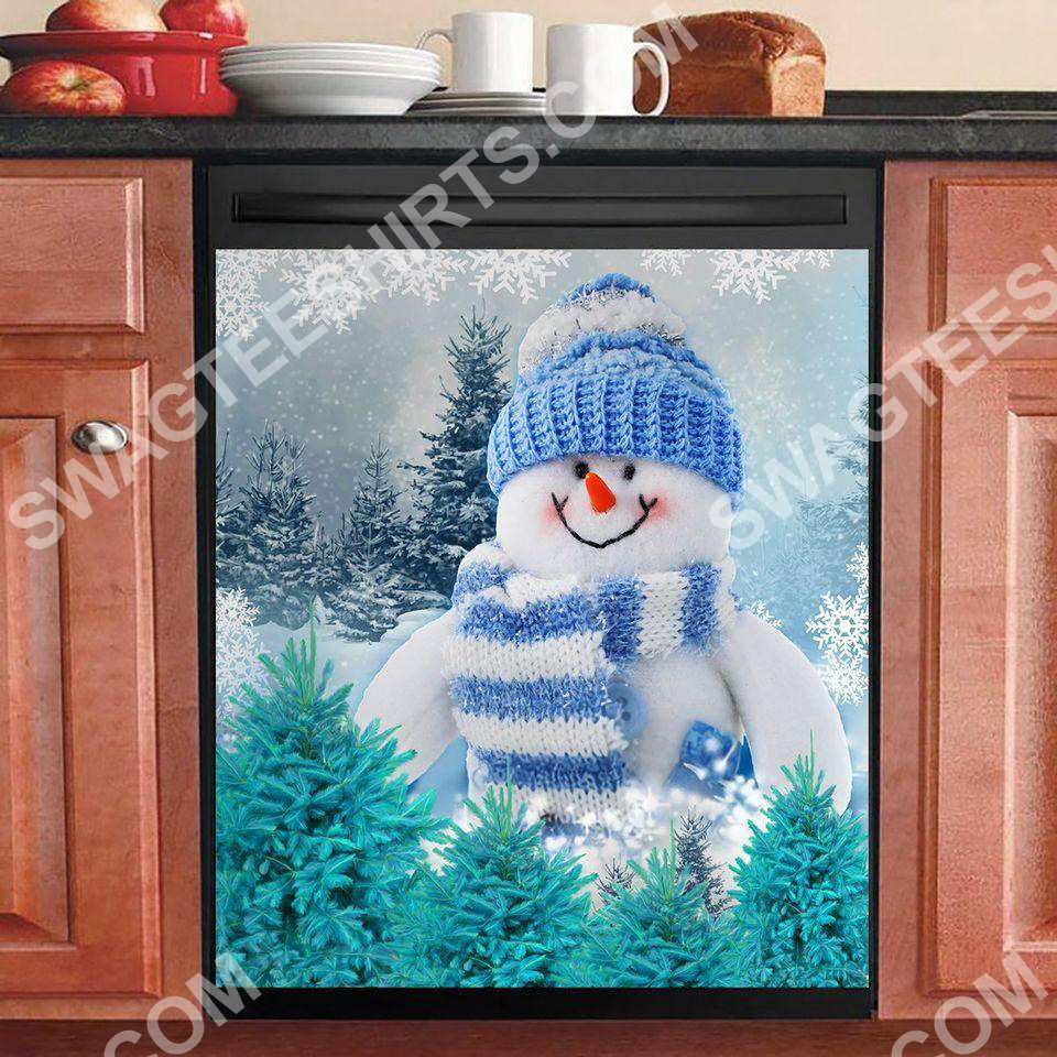 the snowman christmas time kitchen decorative dishwasher magnet cover 2