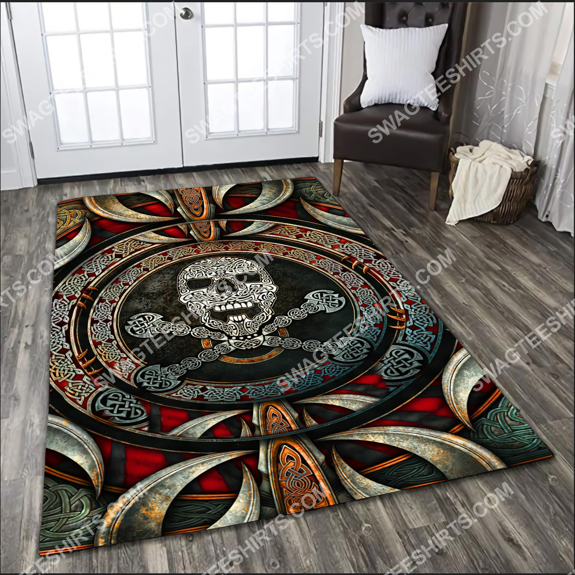 the viking skull all over printed rug 2(1)
