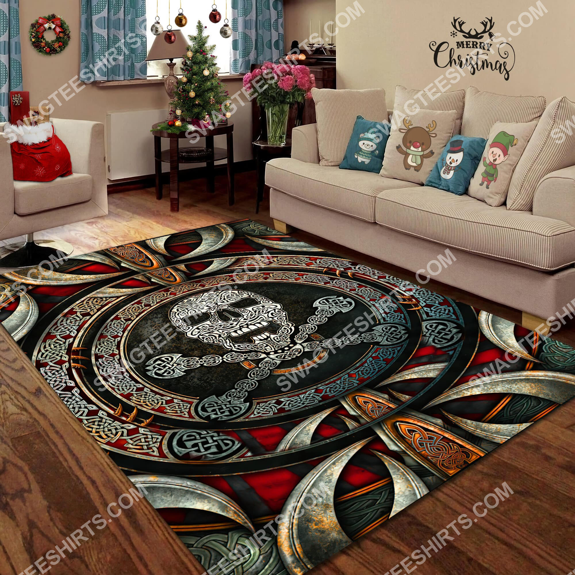 the viking skull all over printed rug 3(1)