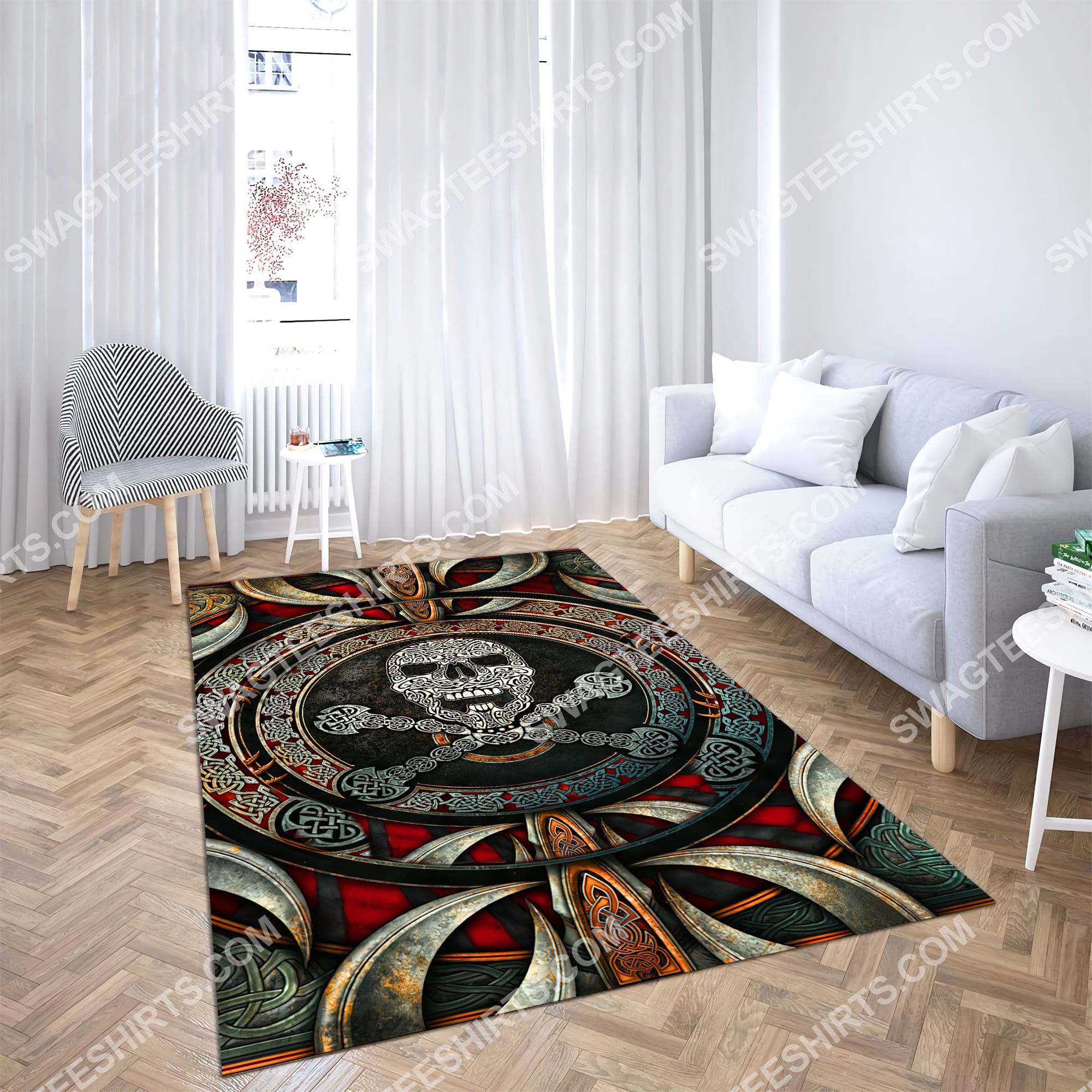 the viking skull all over printed rug 4(1)