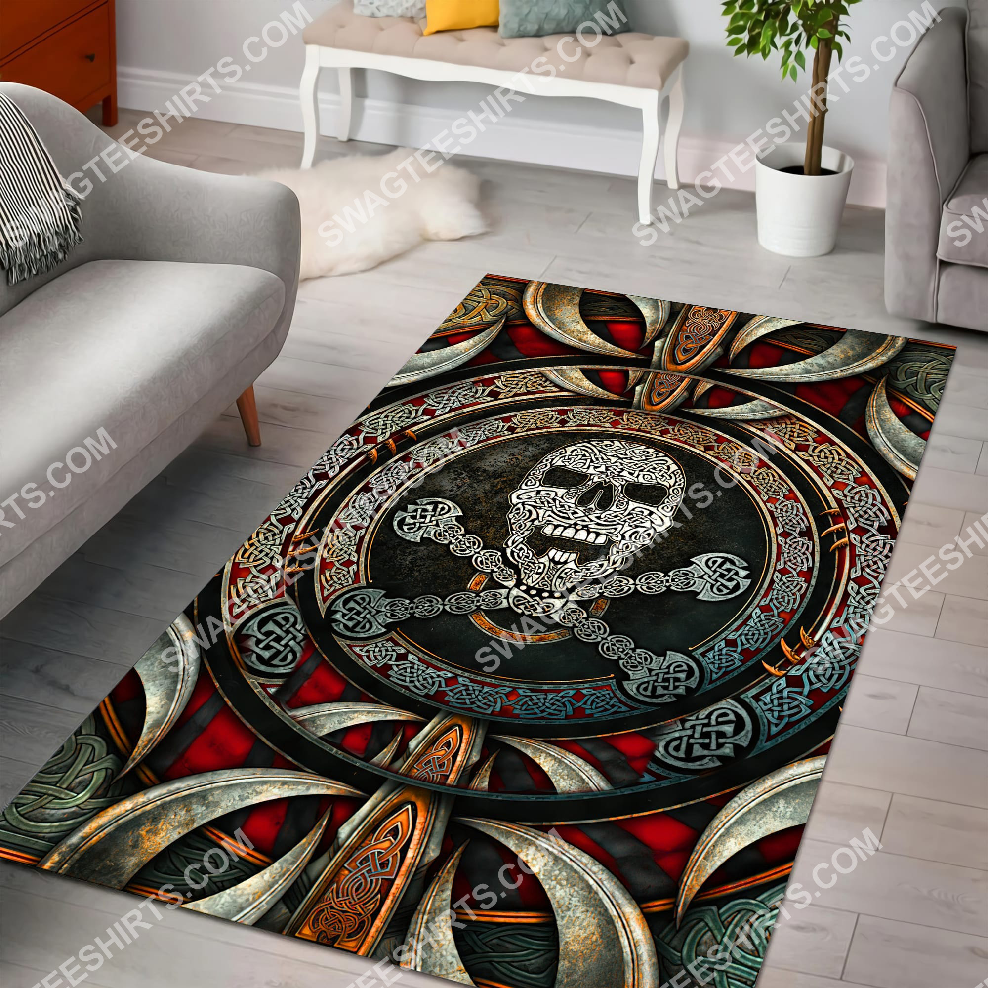 the viking skull all over printed rug 5(1)