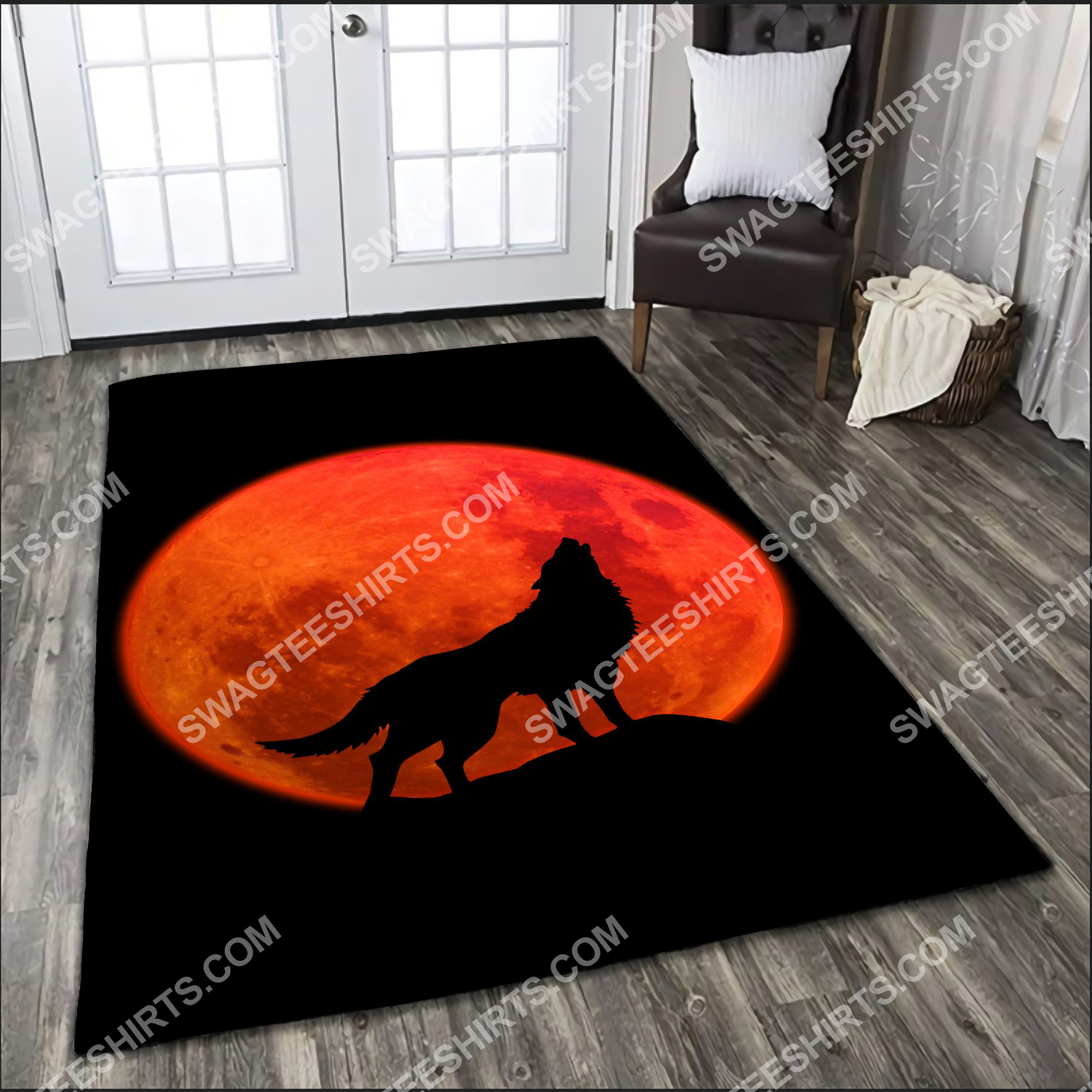 the wolf in red moon all over printed rug 2(1)