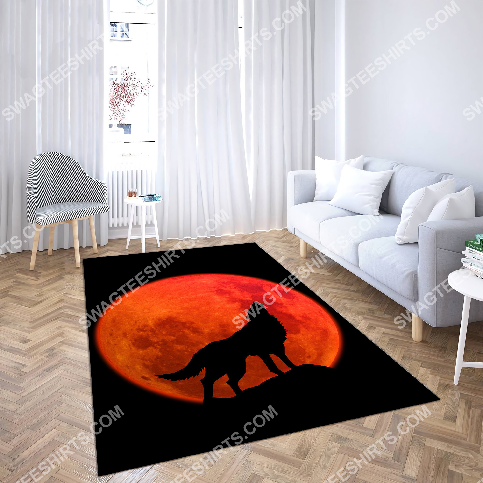 the wolf in red moon all over printed rug 3(1)