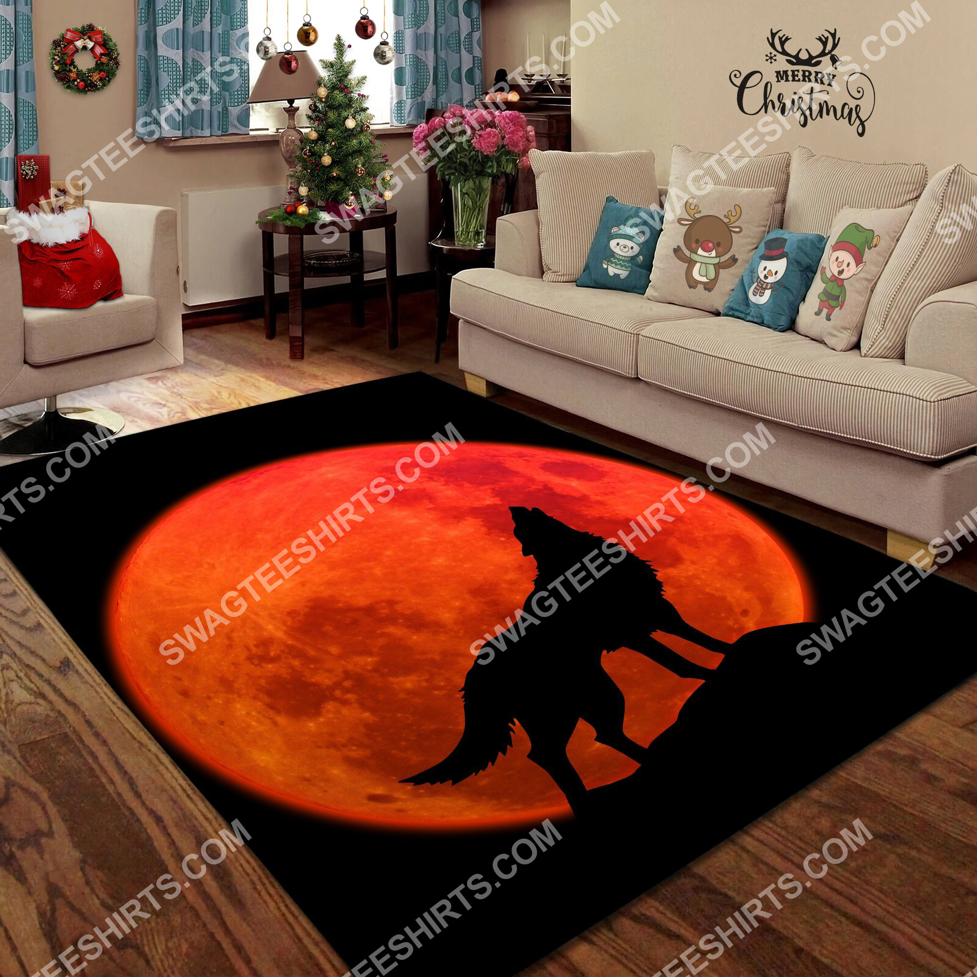the wolf in red moon all over printed rug 4(1)