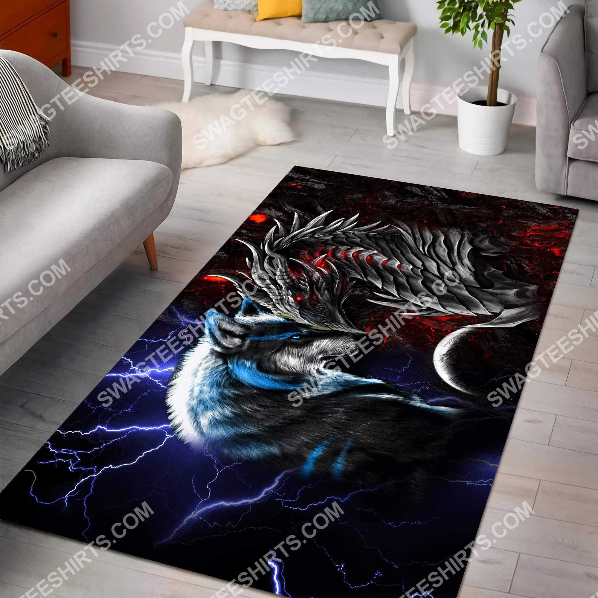 thunder and fire dragon and wolf all over printed rug 2(1)