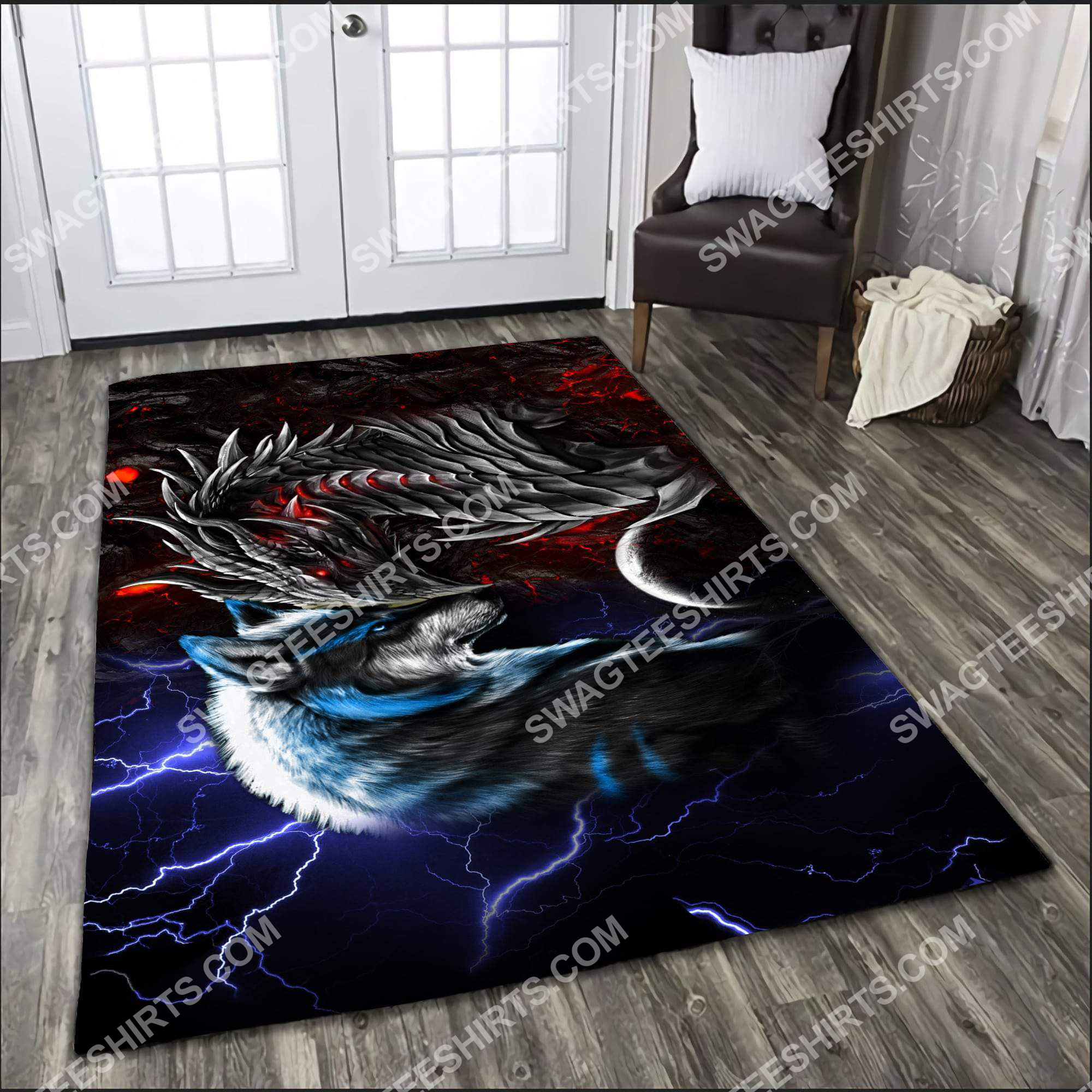 thunder and fire dragon and wolf all over printed rug 3(1)