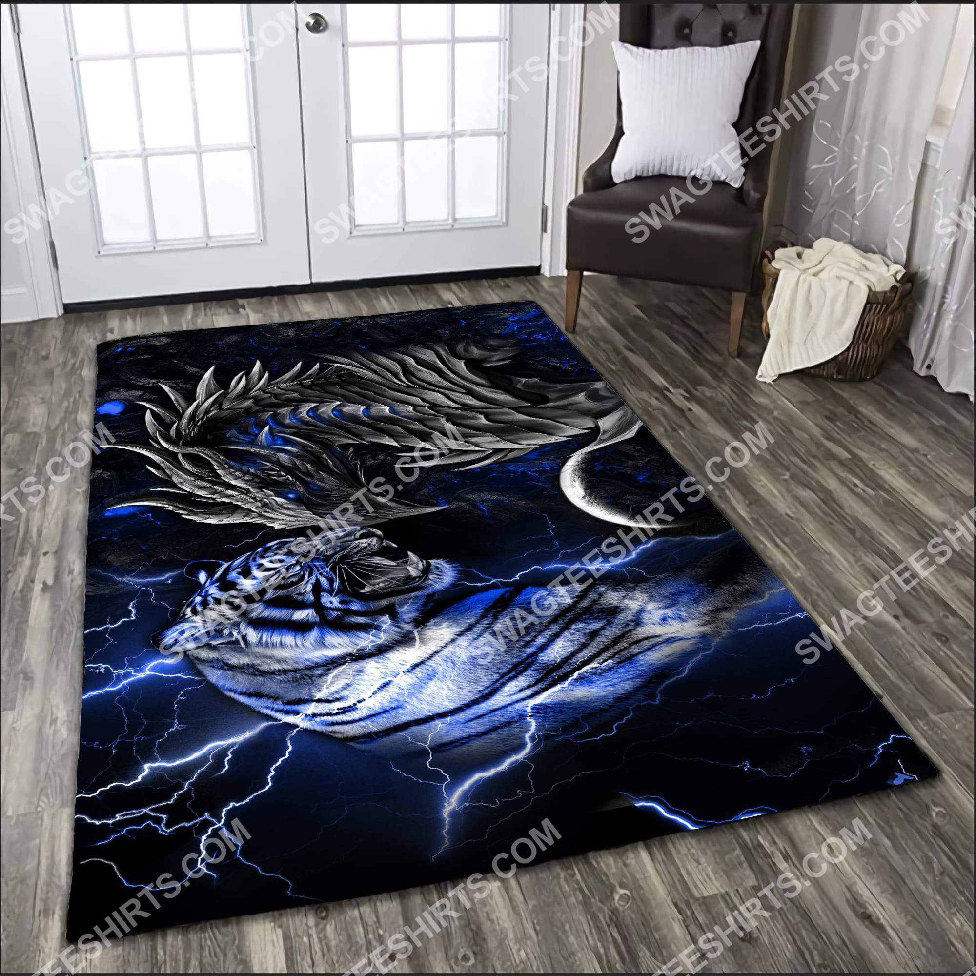 thunder dragon and tiger all over printed rug 3(1) - Copy