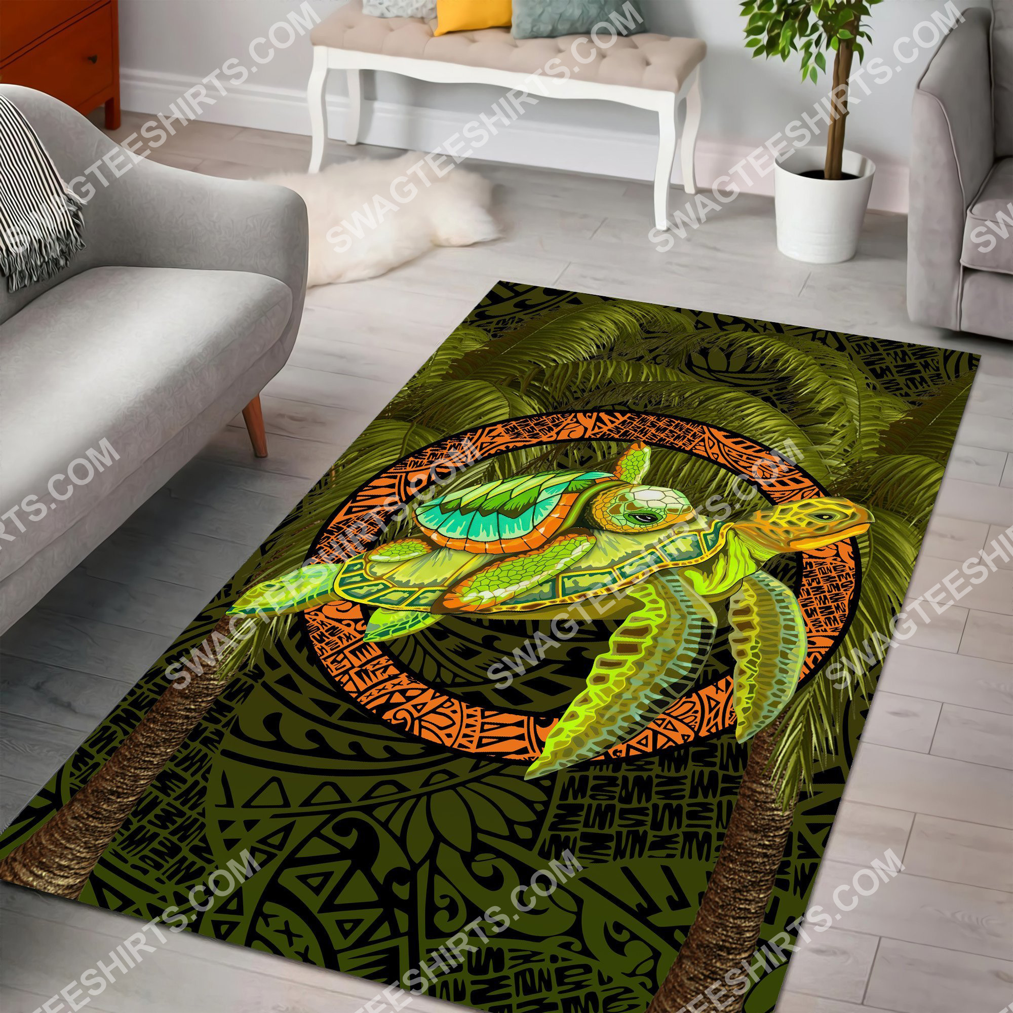 turtle palm tree art all over printed rug 2(1)
