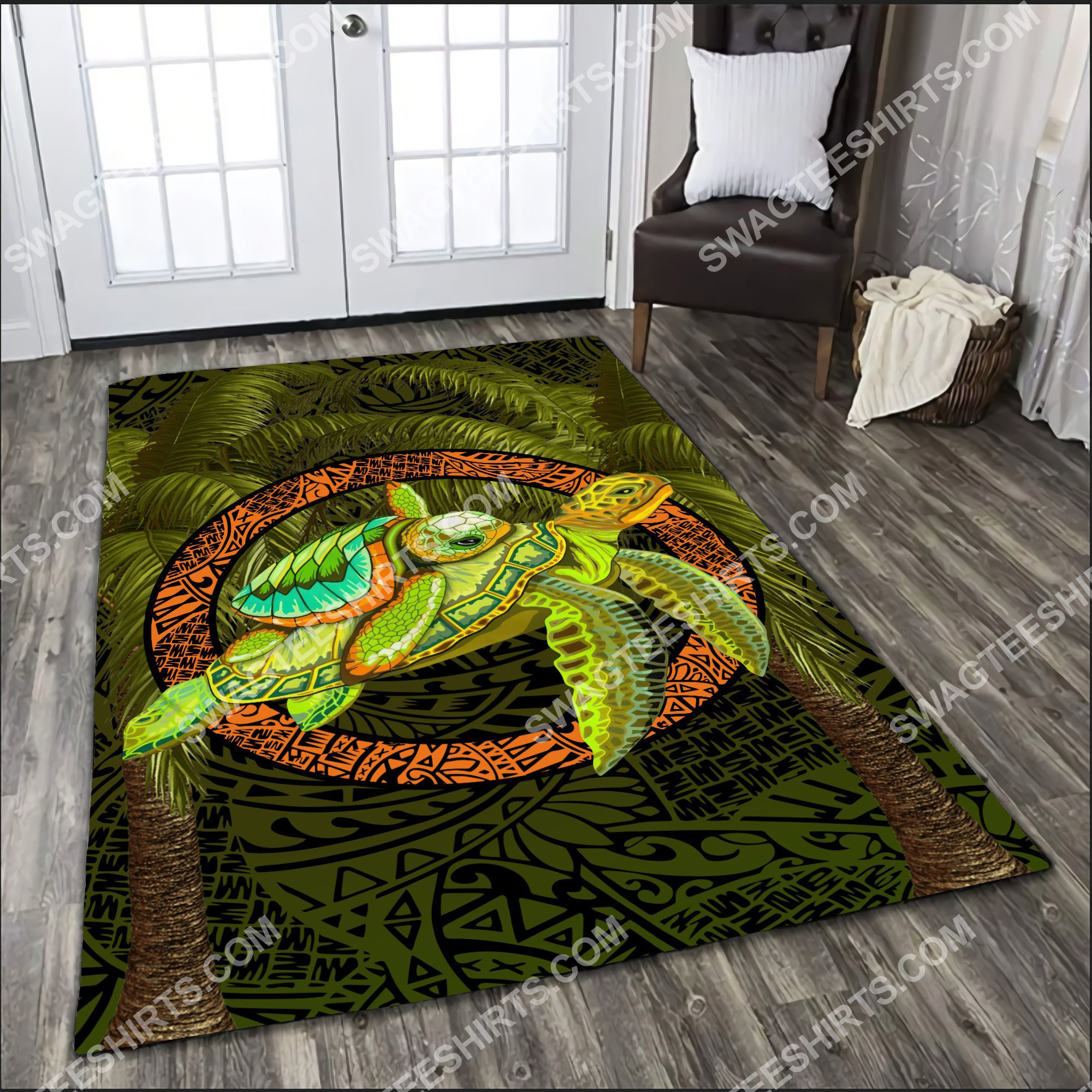 turtle palm tree art all over printed rug 3(1)