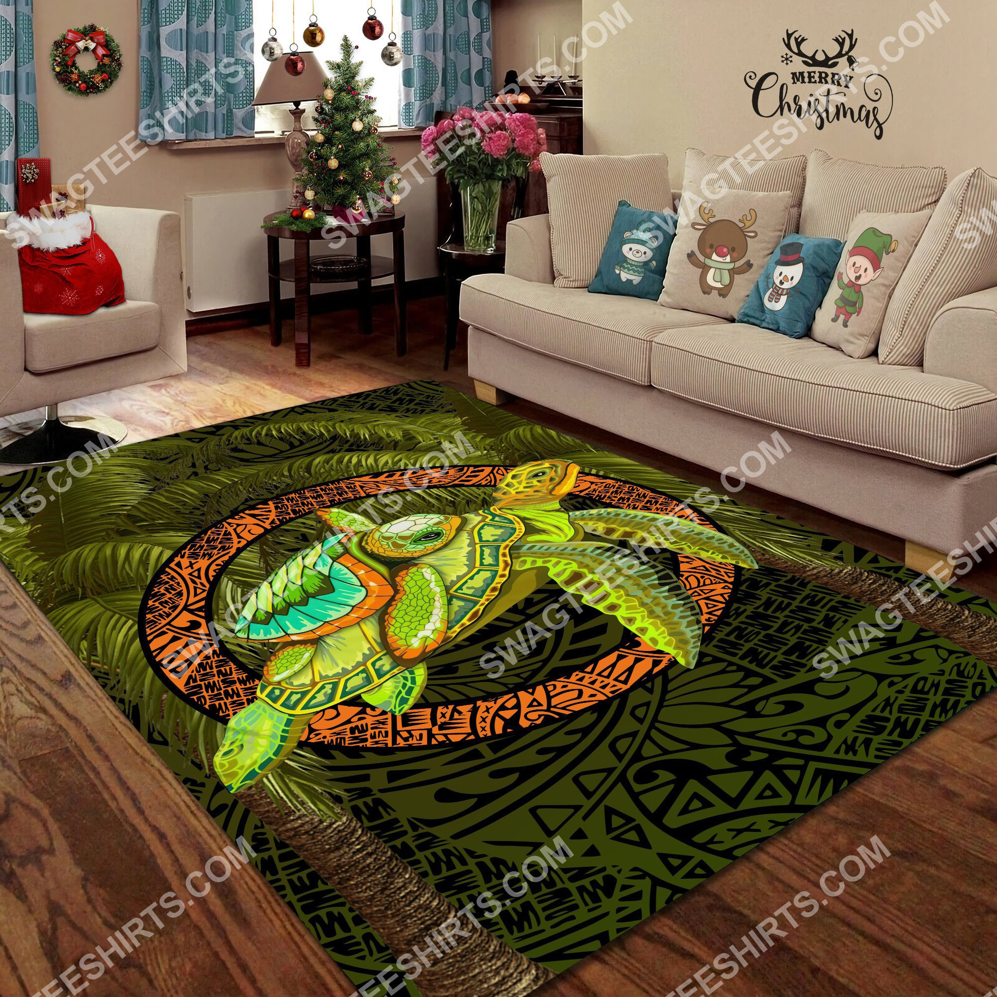turtle palm tree art all over printed rug 4(1)