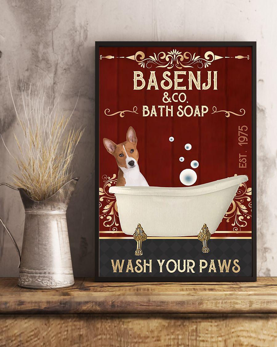vintage basenji dog bath soap wash your paws poster 5
