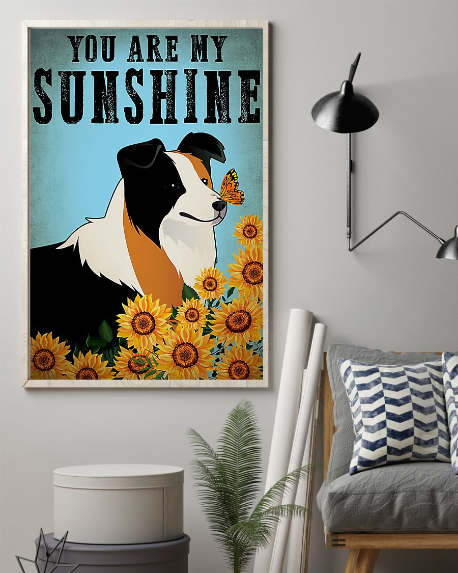 vintage border collie you are my sunshine poster 2