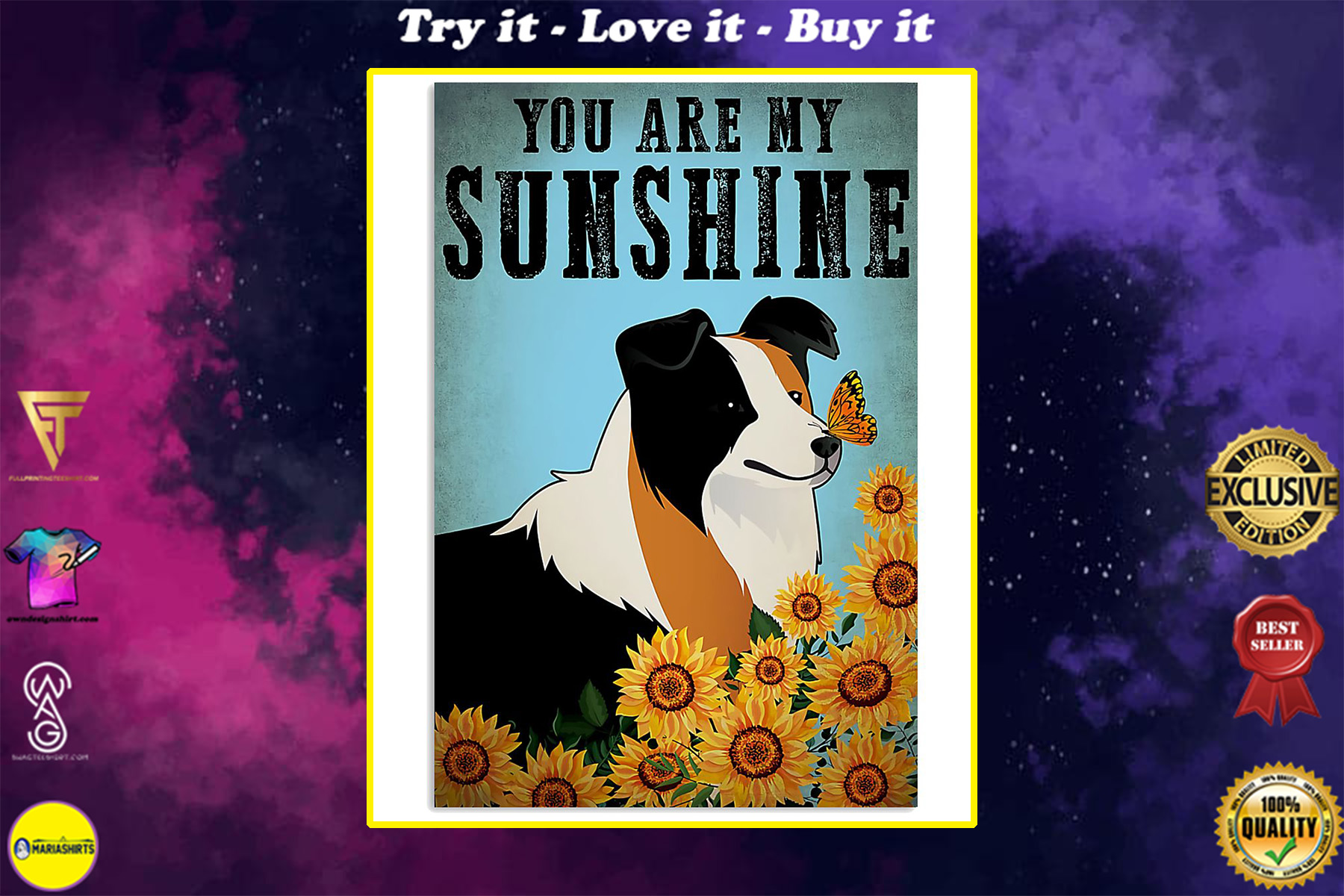 vintage border collie you are my sunshine poster
