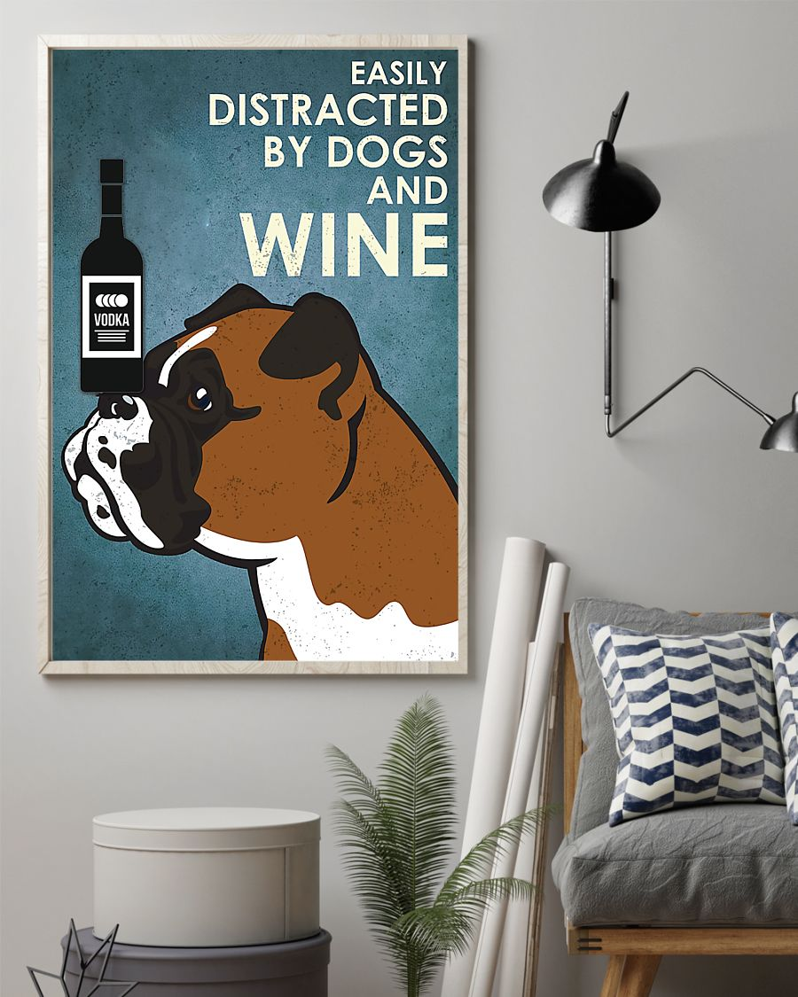 vintage boxer easily distracted by dogs and vodka poster 2