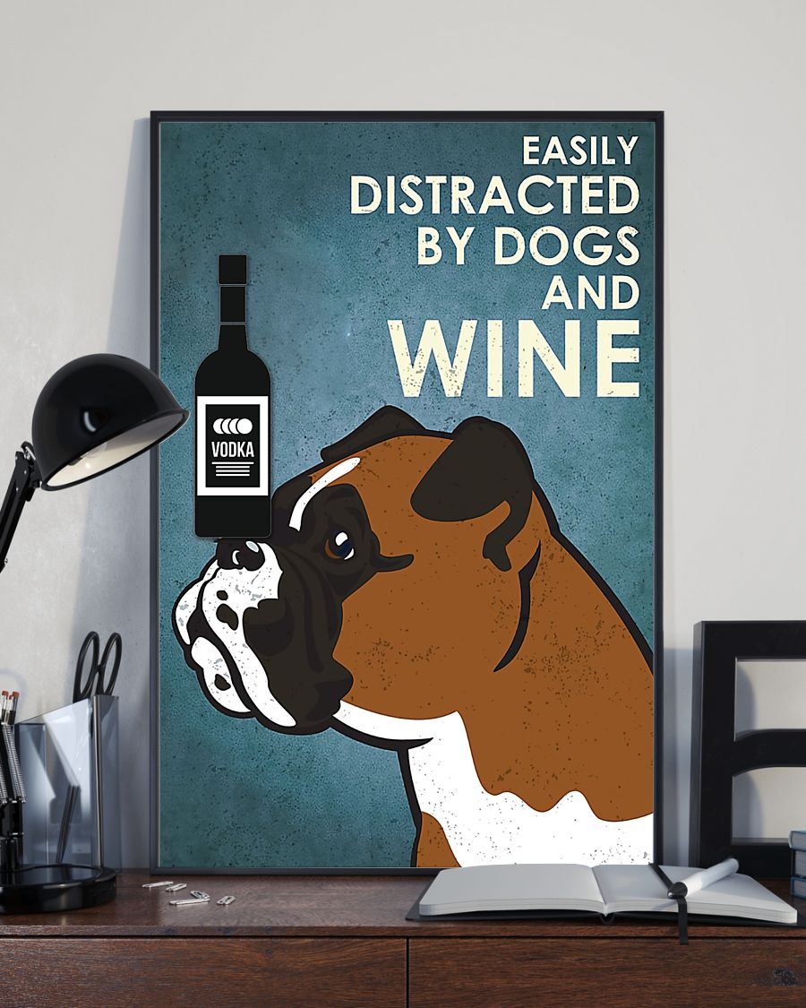 vintage boxer easily distracted by dogs and vodka poster 3