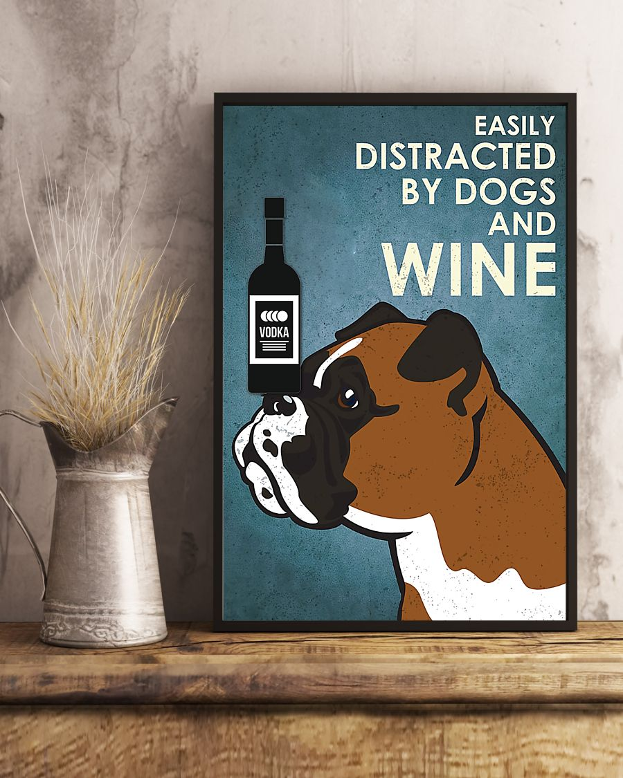 vintage boxer easily distracted by dogs and vodka poster 5