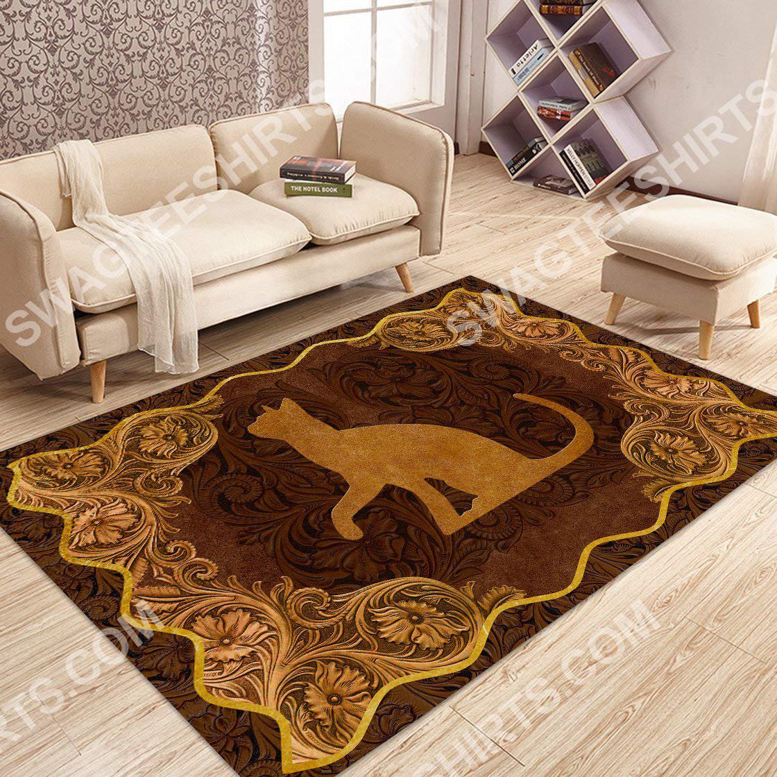 vintage cat antique golden all over printed rug 2(1)