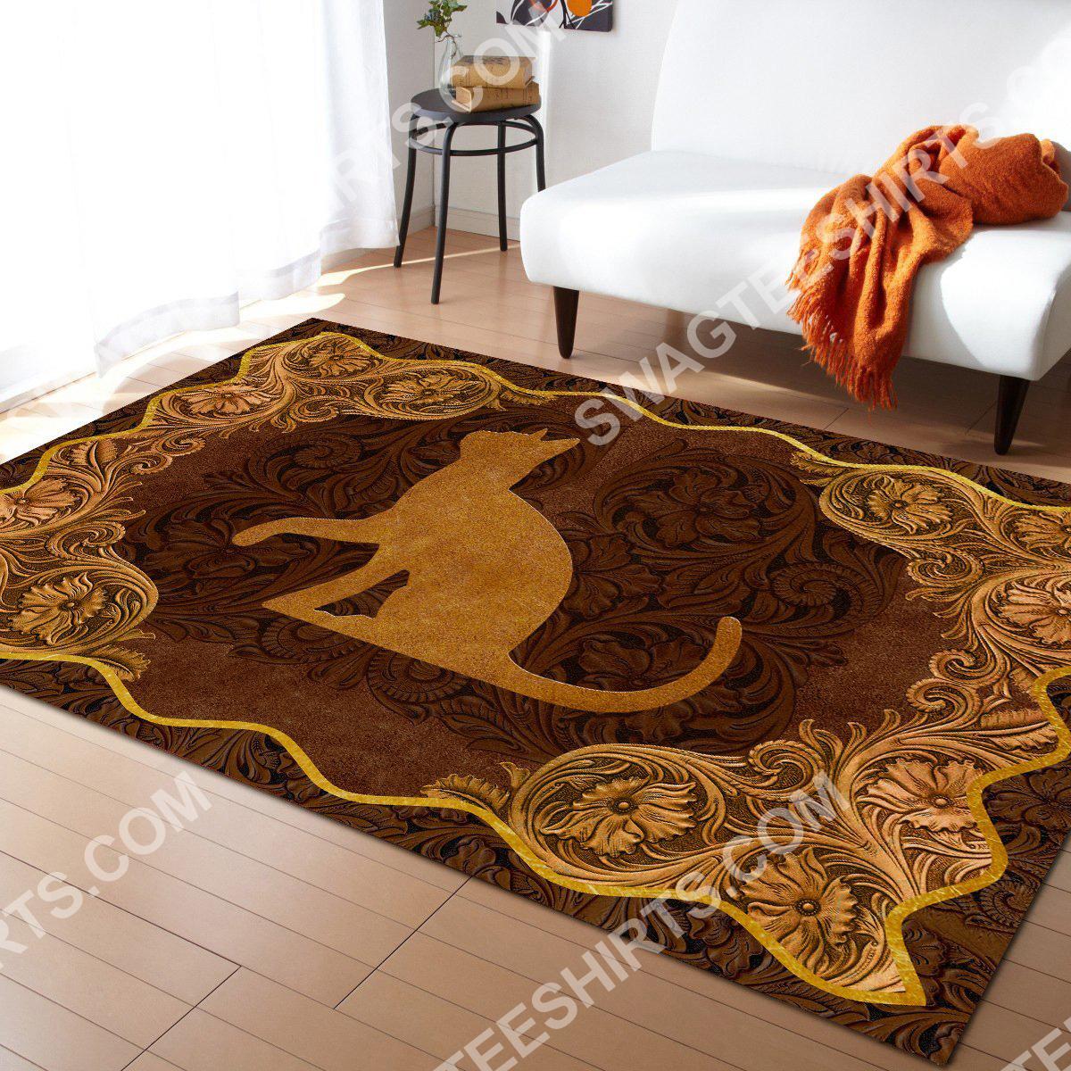 vintage cat antique golden all over printed rug 3(1)