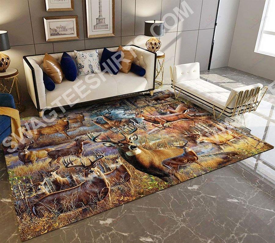 vintage deer go hunting all over printed rug 2(1)