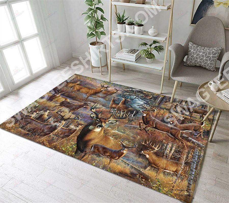 vintage deer go hunting all over printed rug 3(1)